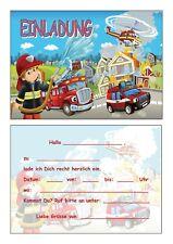 Einladungskarten Kinder Geburtstag Einladungen Feuerwehr Feuerwehrmann Löschzug