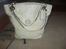 Coach cream yellow patent leather sturdy tote beach shop school gym shoulder bag
