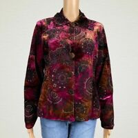 Chico's Velvet Flocked Printed Button Up Shirt Jacket 1 MEDIUM 8 10 Pink Gold