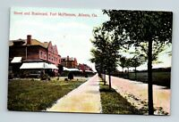 ATLANTA GA GEORGIA VIEW OF THE STREET AN BOULEVARD AT FT. MCPHERSON POSTCARD A-4