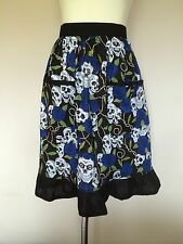 Vintage/Retro Style Half Apron Black Skuls and Blue Roses