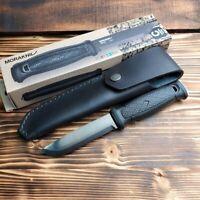 Mora Garberg Black Coated Carbon Steel Fixed Blade Knife Leather Sheath M-13100