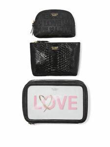 Victoria's Secret Cosmetic Tote Bag Case Pink LoveBackstage Nested Black Leopard