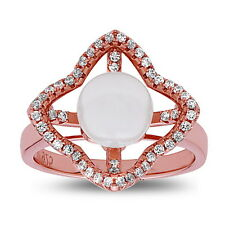 Four Leaf Freshwater Pearl Cocktail Ring Rose Gold Plated with CZ, .925 Silver