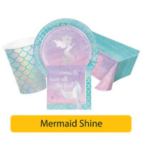 MERMAID Shine Birthday Range - Girl Happy Birthday Tablewear Decorations