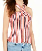 Guess Women's Knit Top Pink White Red Size Medium M Chas Striped Halter $44- 439