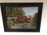 Vintage Countryside Oil Painting Horses ,River Scene Listed Artist John Munnings