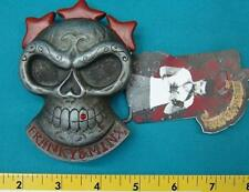 NEW FRANKY & MINX SKULL WITH STARS & RED RHINESTONE TOOTH BELT BUCKLE