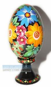 New Folk Art Ukrainian Hen Pysanka Hand painted Hand Carved handmade Wooden eggs