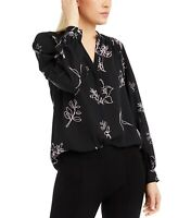 Alfani Women's Blouse Black Size Medium M Knit Button Down Floral $69 #189
