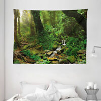Nature Tapestry Rainforest Trees Nepal Print Wall Hanging Decor 80Wx60L Inches