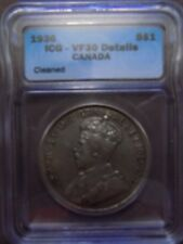 Canadian 1936 Silver Dollar Graded by ICG and Graded VF30