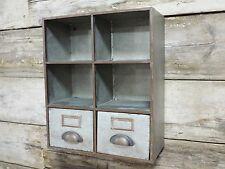 Industrial Wall Mounted Pigeon Hole Storage Unit 2 drawers Vintage Urban Trend
