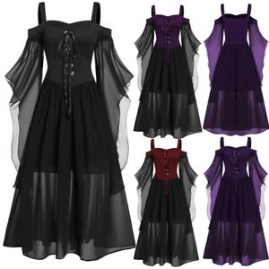 Plus Size Women Gothic Dress Patch Straps Batwing Sleeve Lace Up Halloween Dress