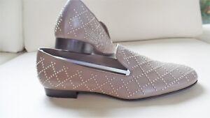 "$450 Delman ""Kern"" Studded Leather Oxfords Mushroom Beige Flats Shoes AU 7.5 8"
