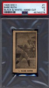 1926 W511 Black & White #1 Babe Ruth Yankees PSA 3 *709020