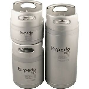 Torpedo Ball Lock Stackable Corny Kegs 1.5,2.5,5,6,10,15 Gallon Available