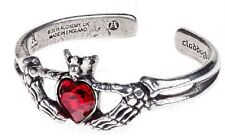 Claddagh By Night Bracelet Alchemy Gothic Pewter Bangle with Swarovski Crystal