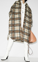 ISABEL MARANT ÉTOILE Gabrion Oversized Checked Coat Brown Size 2 Orig. $680 NWT