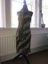 Ladies New Dress Black & Grey With Matching Scarf  Size 14.