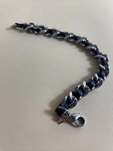 aigner armband Leder Silber Gliederkette