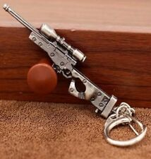 SILVER PEWTER MACHINE GUN RIFLE PISTOL BOX KEYRING KEY CHAIN RING REVOLVER UZI