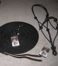 23 FT. NATURAL HORSE TRAINING LEAD LONG LINE & THOMEY 4 KNOT HALTER ~  BLACK