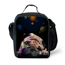Stylish Insulated Lunch Bag Cat Pug Print School Cooler Storage Bags Picnic Tote