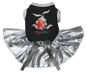 Happy Easter Bunny Black Cotton Top Silver Tutu Pet Dog Puppy Dress