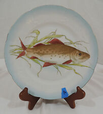 Vintage FISH PATTERN by Carlsbad Scalloped Blue Gold Trim Embossed Salad Plate A