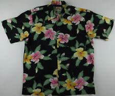 1a7eeb571 PINEAPPLE JUICE USA Floral Hibiscus Short Sleeve Button Hawaiian Shirt Men  Large