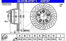 ATE Disco de freno x1 Eje trasero izquierda 330mm Ventilador/perforado 24.0128