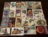~LOT of 25 ~Pansies~PANSY~Flowers Floral~Greetings Postcards-In Sleeves-h181