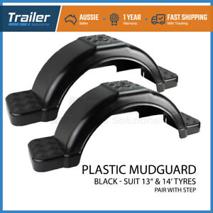 """Boat Trailer Mudguards Black 9 inch Wide Plastic Mud Guards For 13"""" 14"""" Wheel"""