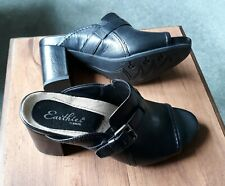 EARTHIES Wmns 7 Black Leather Mule Slide Peep toe Wrapped Rubber Heel TREVI New