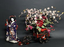 Gofun doll, Anesama doll and Flower(Sakura) carriage Early 20th period geisha