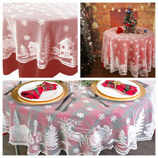 "70"" White Round Christmas Table Cloth Cover Lace Tablecloth Home Party Decor"
