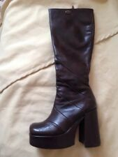Buffalo London By Buffalo Brown Leather Platform Knee Boots Zipped Size 4