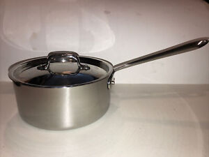 "All-Clad Stainless Steel 3 qt. Saucepan w/ Lid 8"" Diameter, 3.75"" Deep, EUC"