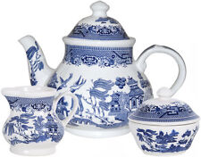 Unboxed Willow Pattern Transfer Ware Pottery Tea Pots