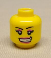 x1 New Lego Minifig Head Girl Female w/ Pink Lips and Eye Shadow and Open Smile