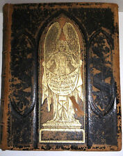 Antique German FAMILY HOLY  BIBLE Unique Print Gold Black Embossed leather