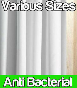 ANTI BACTERIAL WHITE POLYESTER SHOWER CURTAIN - EXTRA NARROW WIDE LONG SHORT