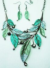 Green and Grey Enamel Effect Leaf Design Necklace and Earring Set