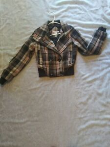 Charlotte Russe Plaid Pink Brown Cropped Jacket Women's Size Small