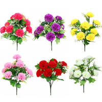 42cm Large Carnations Bush (10 HEADS) With Foliage | Use Indoor And Outdoor