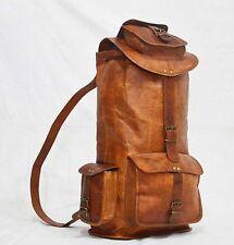 Vintage leather brown natural school bag Rucksack handmade mens gym backpack
