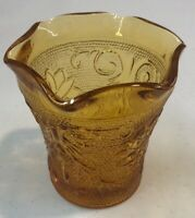 Vintage Tiara Indiana Glass Amber Sandwich Crimped Votive Candle Holder Cup