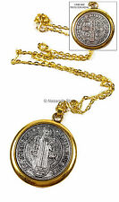 Saint Benedict Medal Gold Silver Tone St SAN BENITO Medalla Cross Necklace 1.4""