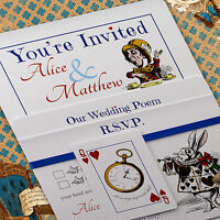 Personalised Vintage Alice in Wonderland Wedding Invitations inc Envelopes White